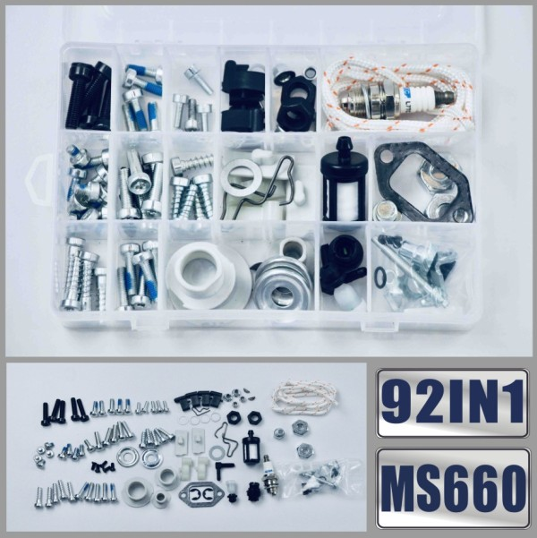 92IN1 Screws Bolts Nuts Clips Chain Tensioner Tank Vent Starter Kit For STIHL MS660 MS461 MS460 MS440 MS441 MS361 MS360 MS260 066 046 044 036 026 Chainsaw