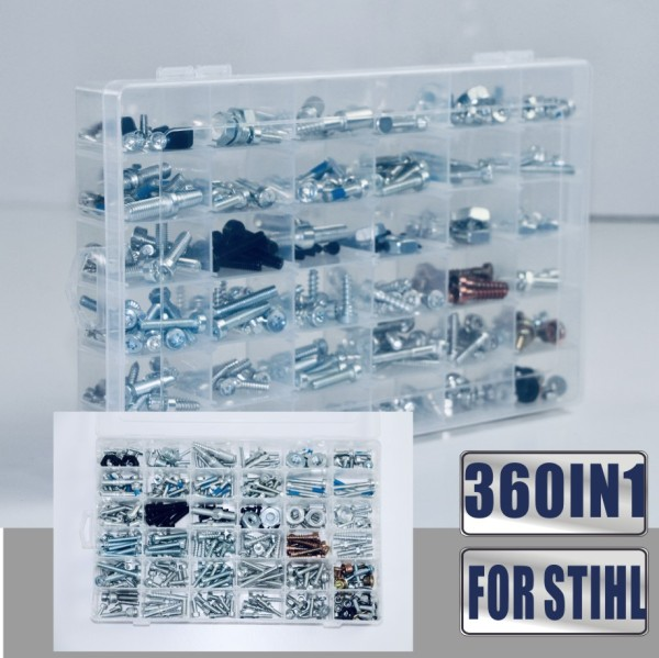360IN1 Screws Bolts Nuts Clips Compatible with Most of STIHL Chainsaws MS880 MS661 MS660 MS461 MS460 MS440 MS441 MS390 MS361 MS360 MS260 MS250 MS230 MS200T MS192T MS180 MS170