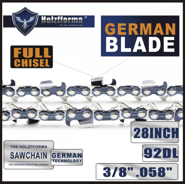 3/8  .058 28inch 92 Drive Links  Full Chisel Saw Chain For Husqvarna and Stihl Chainsaws