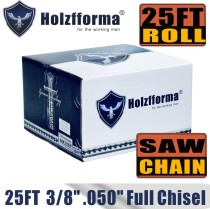 Holzfforma® 25FT Roll Full Chisel Saw Chain .3/8''  Pitch .050''  Gauge For Stihl Dolmar Echo McCulloch Homelite Jonsered Shindaiwa Makita Tanaka Efco Oleo Mac Oregon Carlton Chainsaw With 10PCS Matched Connecting links and 6 Boxes