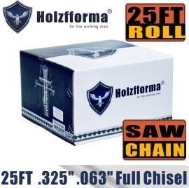 Holzfforma® 25FT Roll Full Chisel Saw Chain .325''  Pitch .063''  Gauge For Stihl Dolmar Echo McCulloch Homelite Jonsered Shindaiwa Makita Tanaka Efco Oleo Mac Oregon Carlton Chainsaw With 10PCS Matched Connecting links and 6 Boxes