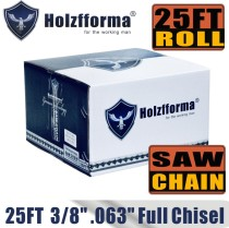 Holzfforma® 25FT Roll Full Chisel Saw Chain .3/8''  Pitch .063''  Gauge For Stihl Dolmar Echo McCulloch Homelite Jonsered Shindaiwa Makita Tanaka Efco Oleo Mac Oregon Carlton Chainsaw With 10PCS Matched Connecting links and 6 Boxes