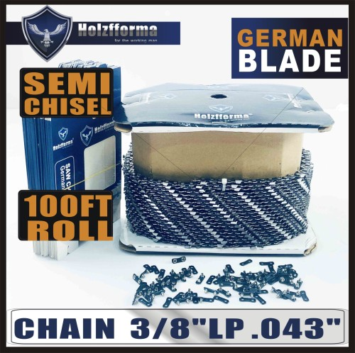 Holzfforma® 100FT Roll .3/8''LP .043'' Semi Chisel Saw Chain With 40 Sets Matched Connecting links and 25 Boxes