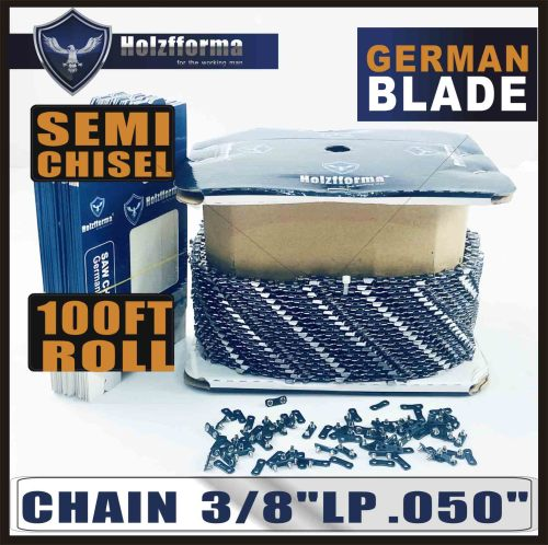 Holzfforma® 100FT Roll .3/8''LP .050'' Semi Chisel Saw Chain With 40 Sets Matched Connecting links and 25 Boxes
