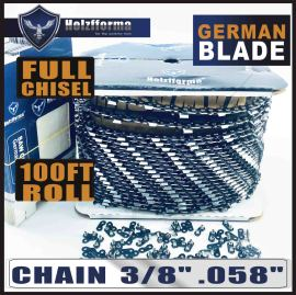 "Holzfforma® 100FT Roll 3/8"" .058'' Full Chisel Saw Chain With 40 Sets Matched Connecting links and 25 Boxes"