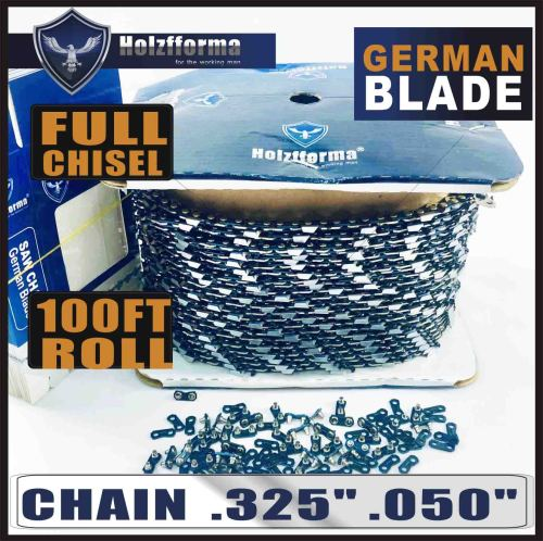 """Holzfforma® 100FT Roll .325""""  .050'' Full Chisel Saw Chain With 40 Sets Matched Connecting links and 25 Boxes"""