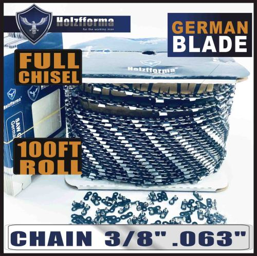 """Holzfforma® 100FT Roll 3/8"""" .063'' Full Chisel Saw Chain With 40 Sets Matched Connecting links and 25 Boxes"""