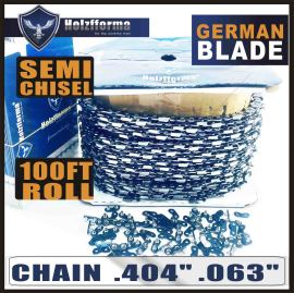 "Holzfforma® 100FT Roll .404""  .063'' Semi Chisel Saw Chain With 40 Sets Matched Connecting links and 25 Boxes"