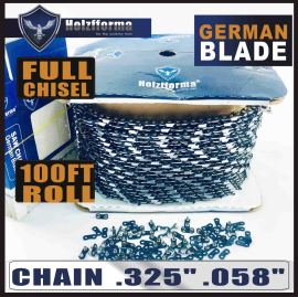 Holzfforma® 100FT Roll .325  .058'' Full Chisel Saw Chain With 40 Sets Matched Connecting links and 25 Boxes