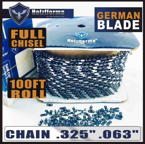 """Holzfforma® 100FT Roll .325""""  .063'' Full Chisel Saw Chain With 40 Sets Matched Connecting links and 25 Boxes"""
