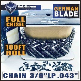 Holzfforma® 100FT Roll  .3/8''LP .043'' Full Chisel Saw Chain With 40 Sets Matched Connecting links and 25 Boxes