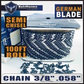 "Holzfforma® 100FT Roll 3/8"" .058'' Semi Chisel Saw Chain With 40 Sets Matched Connecting links and 25 Boxes"