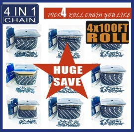 4X100FT Roll Chain Bulk Order 4IN1 SAWCHAIN ​​PICK FOUR 100FT Roll Holzfforma Voll- oder Halbmeißelketten 3/8 Pitch, .325 Pitch, 3/8 LP Pitch, .404 Pitch