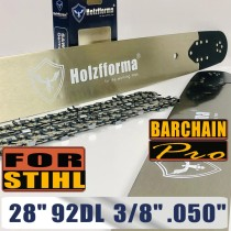 Holzfforma® 28inch 3/8 .050 92DL Bar & Full Chisel Saw Chain Combo Compatible with Stihl Chainsaw MS360 MS361 MS362 MS380 MS390 MS440 MS441 MS460 MS461 MS660 MS661 MS650