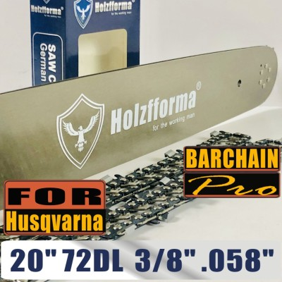 Holzfforma® 20 Inch Guide Bar &Saw Chain Combo  3/8  .058  72DL For Husqvarna  Chainsaw  61 66 266 268 272 281 288 365 372 385 390 394 395 480 562 570 575