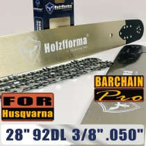 Holzfforma® 28 Inch 3/8 .050 92DL Bar & Full Chisel Chain Combo Compatible with Husqvarna 61 66 262 xp 266 268 272 xp 281 288 362 365 372 xp 385 390 394 395 480 562 570 575