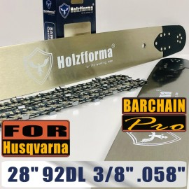 Holzfforma® Pro 28 Inch 3/8 .058 92DL Bar & Full Chisel Chain Combo For Husqvarna 61 66 262 xp 266 268 272 xp 281 288 362 365 372 xp 385 390 394 395 480 562 570 575