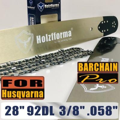 Holzfforma® Pro 28 Inch 3/8 .058 92DL Bar & Full Chisel Chain Combo For Husqvarna 61 66 262 xp 266 268 272 xp 281 288 362 365 372 xp 385 390 394 395 480 562 570 575