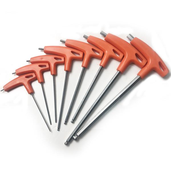 8pcs (2mm, 2.5mm, 3mm, 4mm, 5mm, 6mm, 8mm, 10mm)T Type Handle Ball Ended Hex Key Allen Screwdriver Wrench Tool