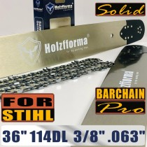 Holzfforma® Pro 36 Inch 3/8 .063 114DL Solid Bar & Full Chisel Chain Combo For Stihl MS440 MS441 MS460 MS461 MS660 MS661 MS650 066 065 064