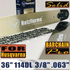 Holzfforma® Pro 36 Inch 3/8 .063 114DL Solid Bar & Full Chisel Chain Combo Compatible with Husqvarna 61 66 262 xp 266 268 272 xp 281 288 362 365 372 xp 385 390 394 395 480 562 570 575 3120 XP