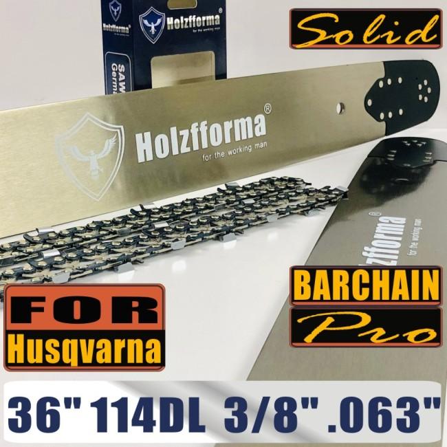 Holzfforma® Pro 36 Inch 3/8 .063 114DL Solid Bar & Full Chisel Chain Combo For Husqvarna 61 66 262 xp 266 268 272 xp 281 288 362 365 372 xp 385 390 394 395 480 562 570 575 3120 XP