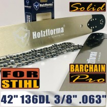 Holzfforma® Pro 42 Inch 3/8 .063 136DL Solid Bar & Full Chisel Chain Combo For Stihl MS440 MS441 MS460 MS461 MS660 MS661 MS650 066 065 064