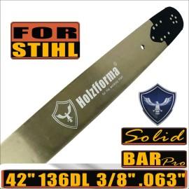 Holzfforma® Pro 42 pollici 3/8 .063 136DL Barra guida solida per molte motoseghe Stihl MS361 MS362 MS380 MS390 MS440 MS441 MS460 MS461 MS660 MS661 MS650 066