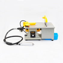 110V Electric Mini Precision Table Saw Big Bench Lathe DIY Woodworking Polishing Cutting Machine With US Plug