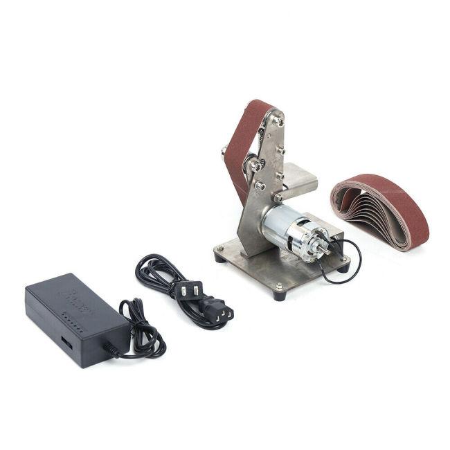 Multifunctional Grinder Mini Electric Belt Sander DIY Polishing Grinding Machine With 10pcs 30*330mm Belt And 110V-240V AC Adapter US Plug