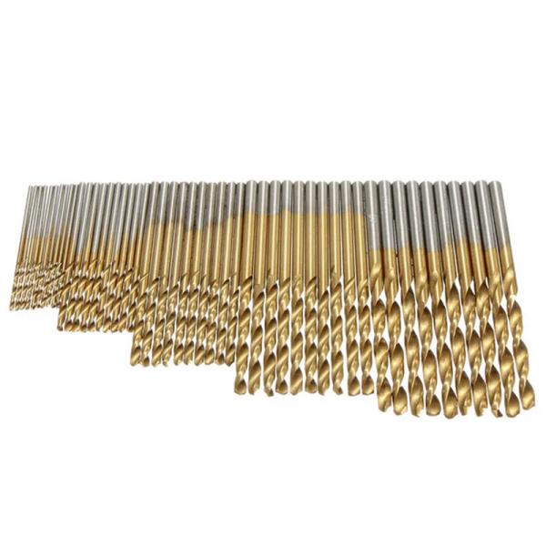 50PCS 1/1.5/2/2.5/3mm HSS Titanium Coated Twist Drill Bits High Speed Steel Drill Bit Set