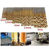 50pcs 1 / 1.5 / 2 / 2.5 / 3mm HSS forets hélicoïdaux revêtus de titane ensemble de forets en acier à grande vitesse