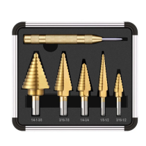 6Pcs HSS Titanium Coated Step Drill Bit With Center Punch Drill Set Hole Cutter Drilling Tool & Aluminum Case