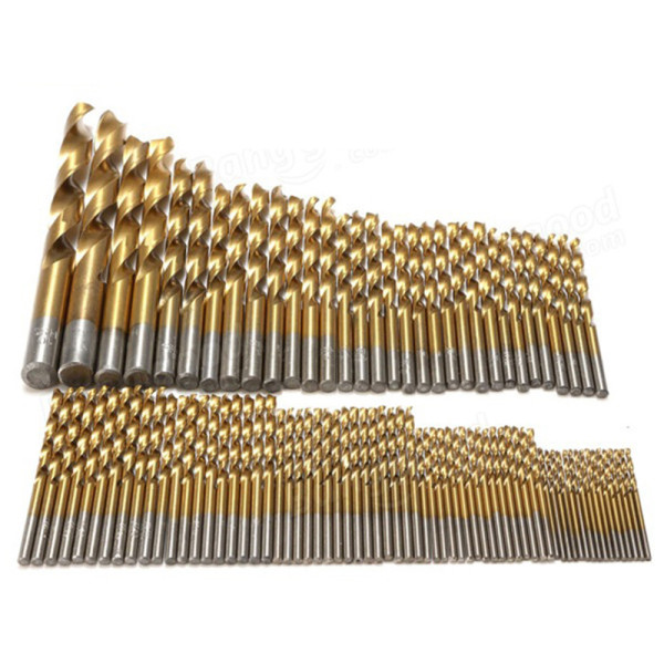 99PCS 1.5mm-10mm HSS titânio revestido com brocas helicoidais conjunto de broca de aço de alta velocidade