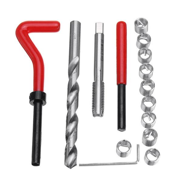 15pcs M10x1.5 Helicoil Restoring Thread Repair Tools Kabeleinsatz-Kit Kompatibles Handreparaturwerkzeug