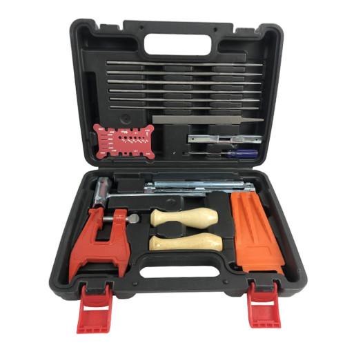 16pcs Chain & Bar Measuring Tool Guide Gauge Handle Stump Vise Felling Wedge 3.5mm-5.5mm Round File Guide Gauge Screwdriver Wrench Kit