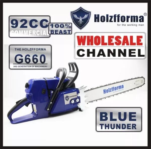 10 COMMANDE EN VRAC DE SCIE (Quantité minimum de commande 10 unités) 92cc Holzfforma® Blue Thunder G660 Scies à chaîne à essence Tête motorisée sans guide-chaîne et chaîne Top qualité par Farmertec Toutes les pièces sont compatibles avec MS660 066 Tronçonneuse (barre de poignée normale)