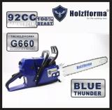 92cc Holzfforma® Blue Thunder G660 Scie à chaîne à essence Tête d'alimentation sans guide-chaîne et chaîne Qualité supérieure par Farmertec Toutes les pièces sont compatibles avec la scie à chaîne MS660 066 (barre de poignée normale)