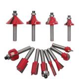 Conjunto de brocas de fresagem 12pcs cortador roteador ferramenta de corte de madeira para aparar haste de 8 mm