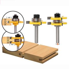 2 Stück 8mm Schaftzungen- und Nutfräser-Bit-Set (1/4 '' * 1/4 '' * 1/4 '') 3 Zähne T-förmiger Holzfräser