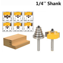 1/4'' Shank 1/8'' 1/4'' 5/16'' 3/8'' 7/16'' 1/2'' Depth Rabbeting Bit with Interchangeable Bearing Router Bit Set