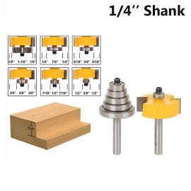 1/4 '' Shank 1/8 '' 1/4 '' 5/16 '' 3/8 '' 7/16 '' 1/2 '' Depth Rabbeting Bit mit austauschbarem Lagerfräser