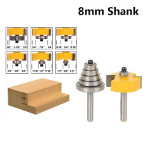 8mm Shank 1/8'' 1/4'' 5/16'' 3/8'' 7/16'' 1/2'' Depth Rabbeting Bit with Interchangeable Bearing Router Bit Set
