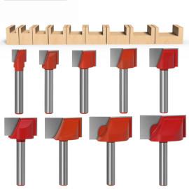 9pcs 10-32mm Fräser Bit 6mm Schaftoberfläche Hobeln Bodenreinigung Holzfräsen Fräser