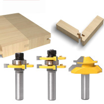 3pcs 1/2 '' Shank 3pcs 6mm 1/4 Shank Tongue & Grooving Joint Router Bit 45 Degree Lock Miter Router Set Stock corte de madeira