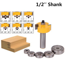 1/2'' Shank 1/8'' 1/4'' 5/16'' 3/8'' 7/16'' 1/2'' Depth Rabbeting Bit with Interchangeable Bearing Router Bit Set