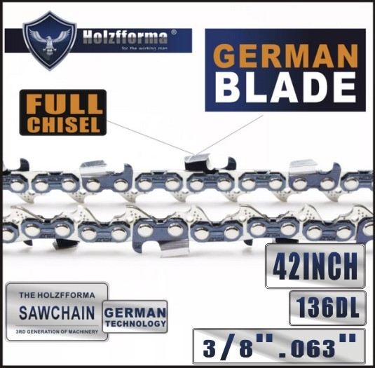 Holzfforma® 42inch 3/8  .063 136DL Full Chisel Chain For Stihl MS440 MS441 MS460 MS461 MS660 MS661 MS650 066 065 064 Husqvarna 61 66 266 268 272 281 288 365 372 385 390 394 395 480 562 570 575 More Chainsaw