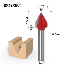 6mm Shank 60 Degree (6*12*60°) V Type Groove Flush Trim Router Bit Chuck Trimming Engraving Milling Cutter
