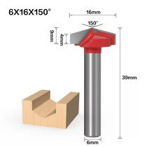 6mm Shank 150 Degree (6*16*150°) V Type Groove Flush Trim Router Bit Chuck Trimming Engraving Milling Cutter