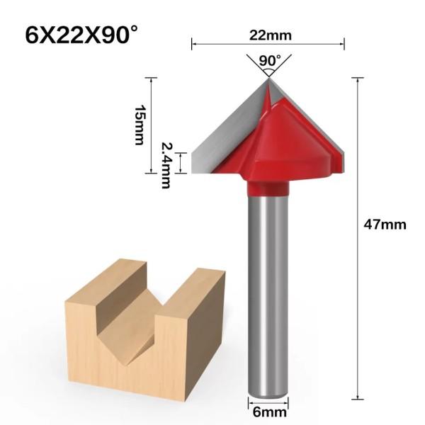 Haste de 6mm 90 Graus (6 * 22 * 90 °) Tipo V Ranhura Flush Trim Router Broca Mandril de aparar Fresa e Gravação
